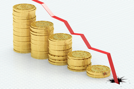 Falling bar chart with golden coins, 3D rendering