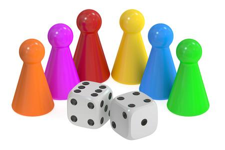 Pezzi del gioco da tavolo e dadi, rendering 3D isolato su sfondo bianco
