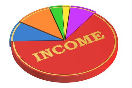 dominance: Income concept with Pie Chart, 3D rendering isolated on white background Stock Photo