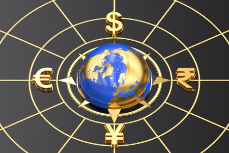 global currencies: money concept, global currencies. 3D rendering