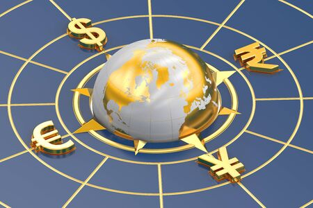 currency symbol: money concept, global currencies. 3D rendering