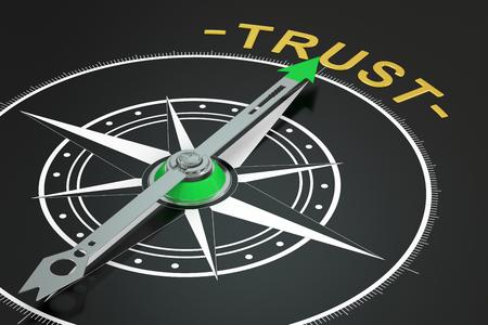 Trust compass concept, 3D rendering Reklamní fotografie