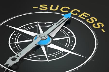 success concept: Success compass concept, 3D rendering Stock Photo