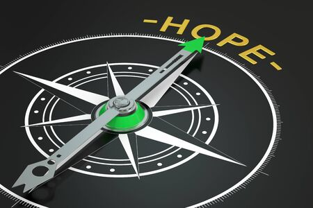 hope: Hope compass concept, 3D rendering Stock Photo