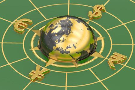 currencies: global currencies concept, 3D rendering