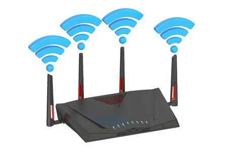internet connection: Dual-Band Wireless internet router, 3D rendering isolated on white background Stock Photo