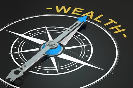 finding: Wealth compass concept, 3D rendering
