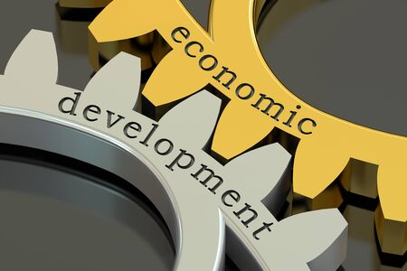 desarrollo económico: Concepto del desarrollo económico sobre las ruedas dentadas, 3D Foto de archivo