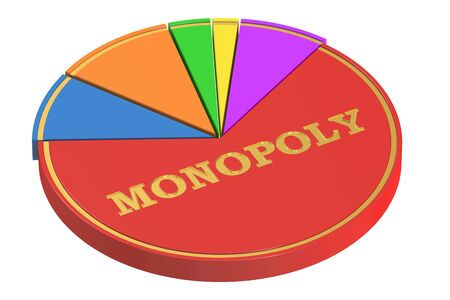 monopolies: Monopoly concept with Pie Chart, 3D rendering isolated on white background