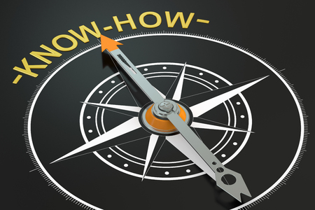 knowhow: Know-How compass concept, 3D rendering Stock Photo