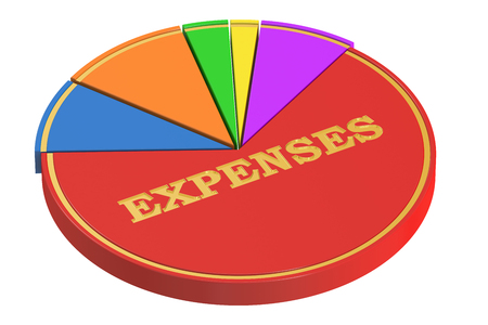 expenses: Expenses concept with Pie Chart, 3D rendering isolated on white background
