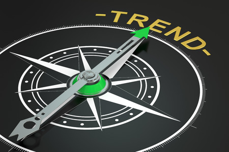 tendency: Trend compass concept, 3D rendering Stock Photo
