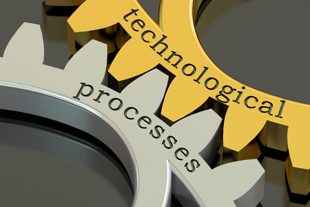 technological evolution: technological processes concept on the gearwheels, 3D rendering