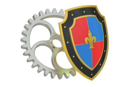 protection gear: shield with gear, protection concept. 3D rendering Stock Photo
