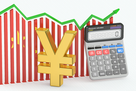 calculator chinese: Business finance, banking and accounting chart with symbol of chinese yen and calculator. 3D rendering Stock Photo