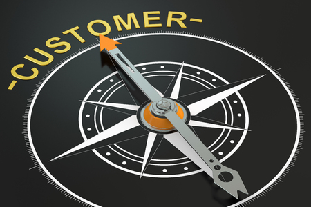 reliance: Customer compass concept, 3D rendering Stock Photo
