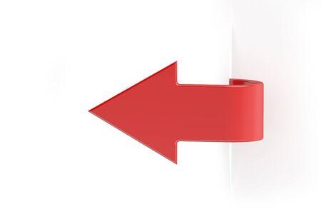 red arrow: paper red arrow banner, 3D rendering