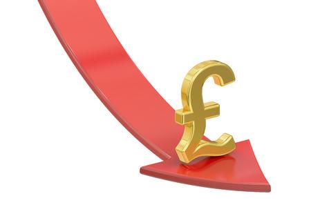 pound sterling: La caída flecha roja con el símbolo de la libra esterlina, el concepto de crisis. Representación 3D aislada en el fondo blanco Foto de archivo