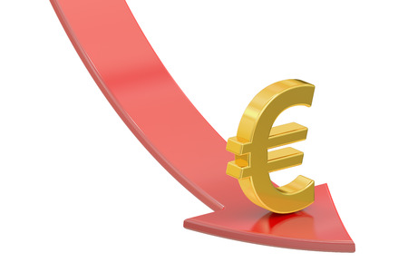 regress: Falling red arrow with symbol of euro, crisis concept. 3D rendering isolated on white background