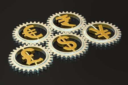 global currencies: global currencies concept, 3D rendering isolated on black background