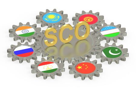 eurasian: SCO concept, 3D rendering isolated on white background Stock Photo