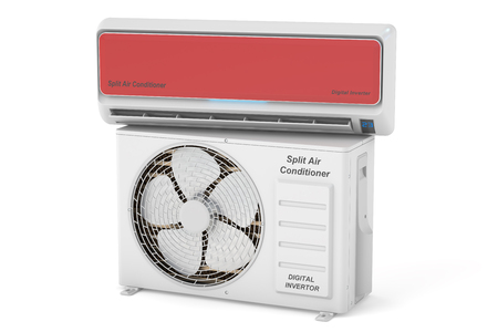 the unit: modern air conditioner system with unit, 3D rendering