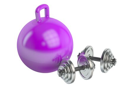 hopper: Fitness and sports equipment for adults and childrens concept, 3D rendering isolated on white background