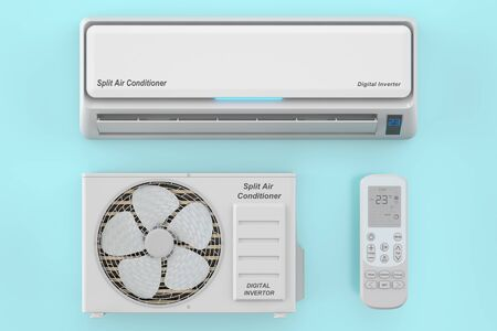 air conditioner: modern air conditioner system with unit and remote control, 3D rendering