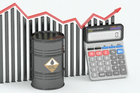 barril de petr�leo: Concepto del precio del petr�leo, gr�fico con calculadora y el barril de petr�leo. representaci�n 3D