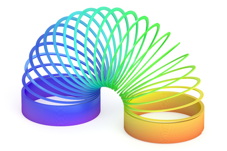 springy: Rainbow colored plastic toy, 3D rendering isolated on white background