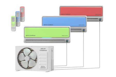 air conditioner: modern air conditioner system with units and remote control, 3D rendering