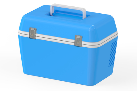 cooler boxes: Blue portable cooler, 3D rendering isolated on white background Stock Photo