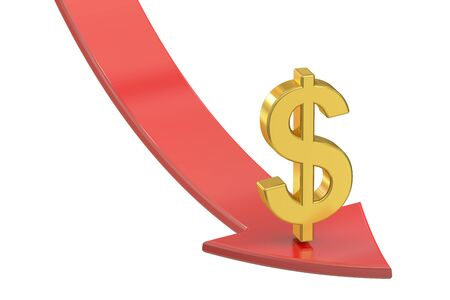 regress: Falling red arrow with symbol of dollar, crisis concept. 3D rendering isolated on white background Stock Photo