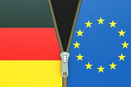 trade union: Germany and EU, relation concept. 3D rendering Stock Photo