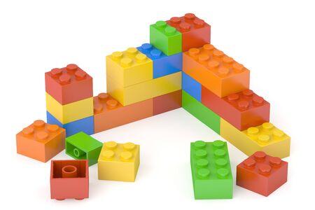 Kunststoff-Bausteine, 3D-Rendering auf weißem Hintergrund