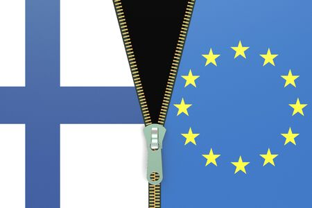 referendum: Finland and EU, relation concept. Fixit referendum concept, 3D rendering