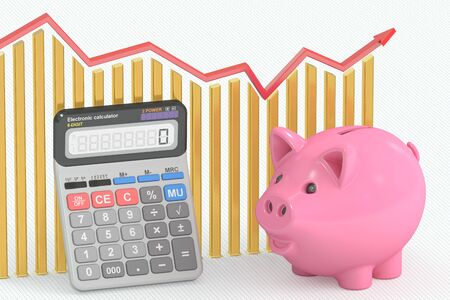 calculating: Calculating Savings concept, 3D rendering Stock Photo