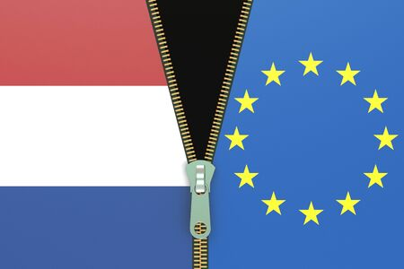 referendum: Netherlands and EU, relation concept. Nexit referendum concept, 3D rendering Stock Photo