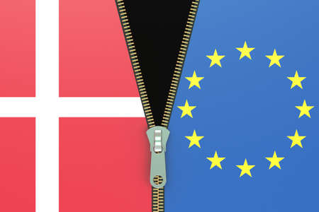 referendum: Denmark and EU, relation concept. dexit referendum concept, 3D rendering