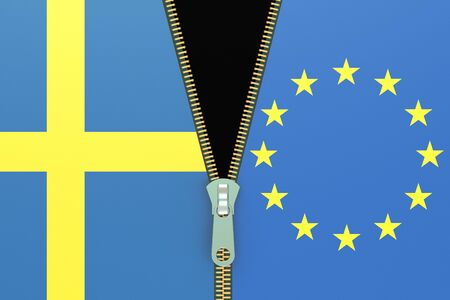relation: Sweden and EU, relation concept. swexit referendum concept, 3D rendering Stock Photo