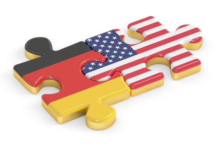relation: France and Germany puzzles from flags, relation concept. 3D rendering