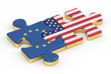 trade union: USA and EU puzzles from flags, relation concept. 3D rendering