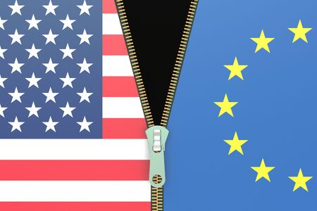 relation: USA and EU, relation concept, 3D rendering