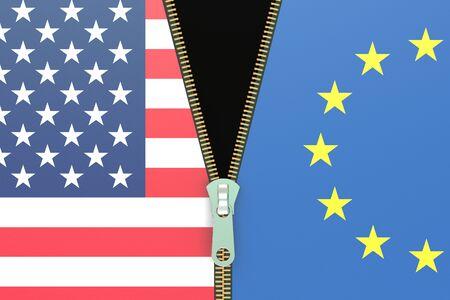 eu: USA and EU, relation concept, 3D rendering