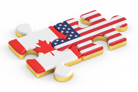 canadian: USA and EU puzzles from flags, relation concept. 3D rendering
