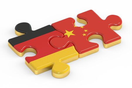 relation: China and Germany puzzles from flags, relation concept. 3D rendering