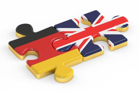 UK and Germany puzzles from flags, relation concept. 3D rendering