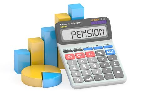 pension: Pension concept, 3D rendering isolated on white background