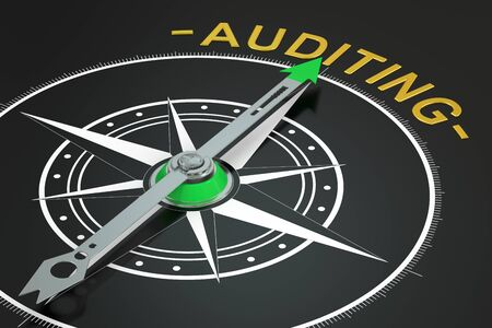 auditing: Auditing compass concept, 3D rendering Stock Photo