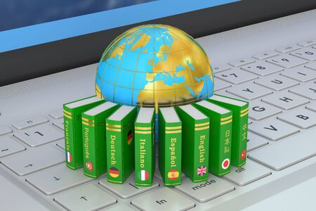 dictionaries: Dictionaries with Globe on the laptops keyboard. Global communication concept, 3D rendering